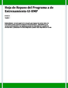 Hoja de Repaso del Programa a de Entrenamiento GI BMP