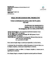 HOJA DE SEGURIDAD DEL PRODUCTO