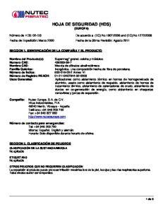 HOJA DE SEGURIDAD (HDS) (EUROPA)