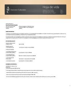 Hoja de vida. Asesores Culturales. Carolina Torres Posada. Pag. 1 Pag. 4 Pag. 7. Carolina Torres Posada