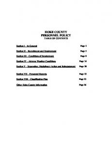 HOKE COUNTY PERSONNEL POLICY TABLE OF CONTENTS