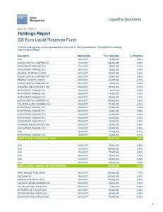 Holdings Report GS Euro Liquid Reserves Fund