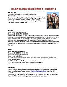 HOLIDAY CELEBRATIONS DECEMBER 3 DECEMBER 6