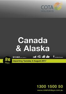 HOLIDAYS. Canada & Alaska. $13465 per person. moderate pace. days