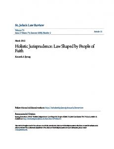 Holistic Jurisprudence: Law Shaped by People of Faith