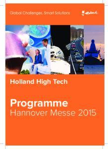 Holland High Tech. Programme