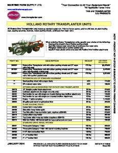 HOLLAND ROTARY TRANSPLANTER UNITS