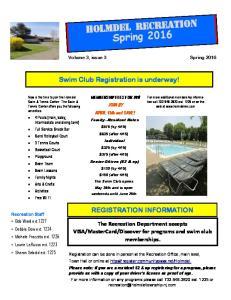 Holmdel Recreation Spring 2016