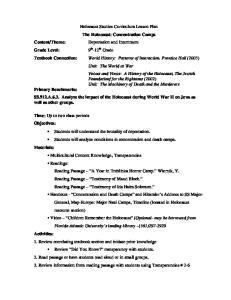 Holocaust Studies Curriculum Lesson Plan The Holocaust: Concentration Camps