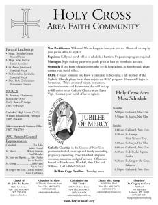 HOLY CROSS AREA FAITH COMMUNITY JUBILEE OF MERCY. Holy Cross Area Mass Schedule