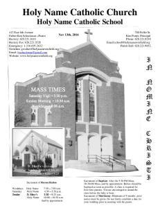 Holy Name Catholic Church Holy Name Catholic School