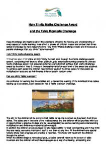 Holy Trinity Maths Challenge Award. and the Table Mountain Challenge