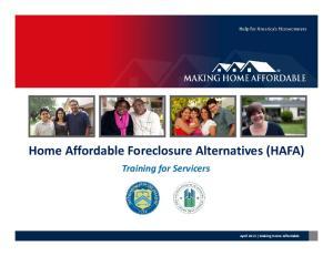 Home Affordable Foreclosure Alternatives (HAFA)