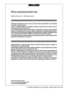 Home assessment and care
