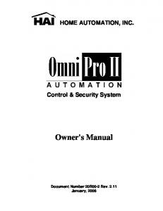 HOME AUTOMATION, INC. Control & Security System. Owner's Manual
