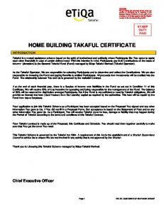 HOME BUILDING TAKAFUL CERTIFICATE
