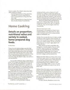Home Cooking. Details on proportion, nutritional value and variety in cooked, home-prepared dog foods