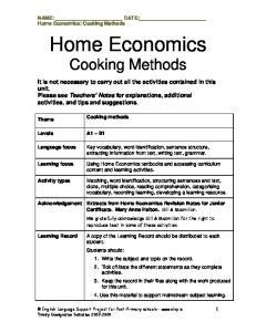 Home Economics Cooking Methods