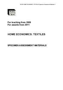 HOME ECONOMICS: TEXTILES