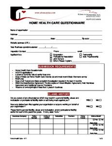 HOME HEALTH CARE QUESTIONNAIRE