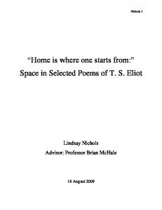 Home is where one starts from: Space in Selected Poems of T. S. Eliot
