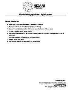 Home Mortgage Loan Application