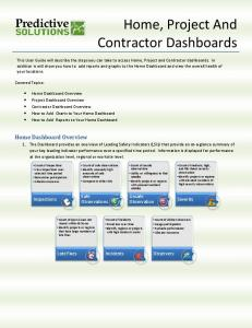 Home, Project And Contractor Dashboards