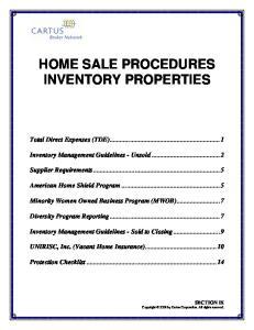 HOME SALE PROCEDURES INVENTORY PROPERTIES