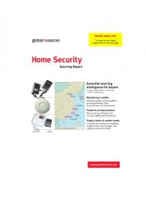 Home Security. Sourcing Report. Essential sourcing intelligence for buyers Includes mainland China Hong Kong Taiwan South Korea