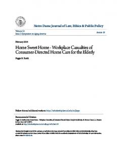 Home Sweet Home - Workplace Casualties of Consumer-Directed Home Care for the Elderly