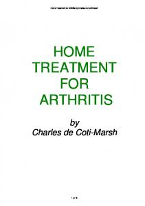 HOME TREATMENT FOR ARTHRITIS
