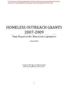 HOMELESS OUTREACH GRANTS