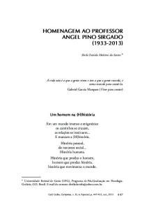 HOMENAGEM AO PROFESSOR ANGEL PINO SIRGADO ( )