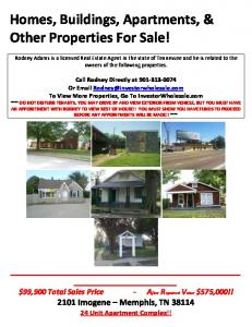 Homes, Buildings, Apartments, & Other Properties For Sale!