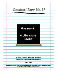 Homework: A Literature Review