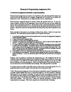 Homework Programming Assignment, Five