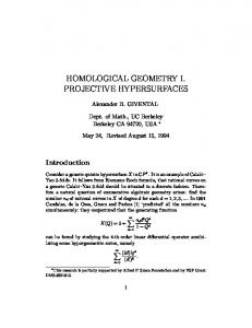 HOMOLOGICAL GEOMETRY I. PROJECTIVE HYPERSURFACES