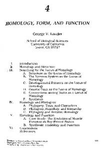 HOMOLOGY, FORM, AND FUNCTION