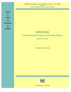 HONDURAS. Encuesta Permanente de Hogares de Propósitos Múltiples. Manual del Usuario. Septiembre de 2007