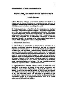 Honduras, los retos de la democracia