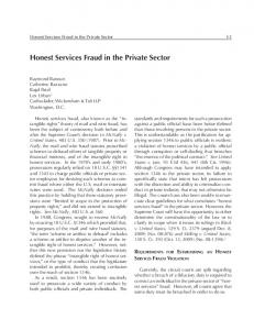 Honest Services Fraud in the Private Sector