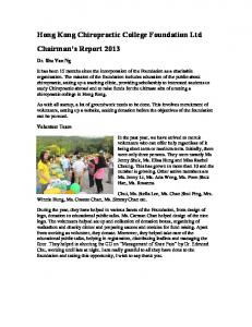 Hong Kong Chiropractic College Foundation Ltd Chairman s Report 2013