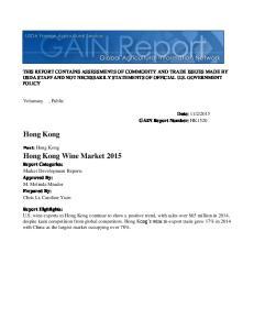 Hong Kong. Hong Kong Wine Market 2015