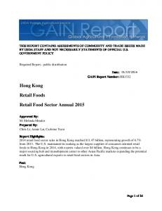 Hong Kong. Retail Foods. Retail Food Sector Annual 2015