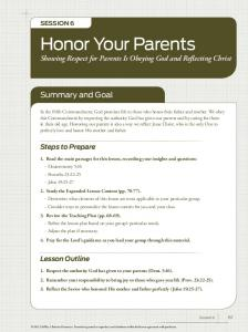 Honor Your Parents Showing Respect for Parents Is Obeying God and Reflecting Christ