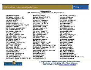 Honorary Gifts In , Trinity College received gifts in honor of the following individuals: