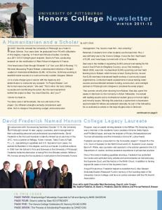 Honors College Newsletter WINTER