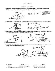 Honors Pre Calculus. 6.1: Vector Word Problems