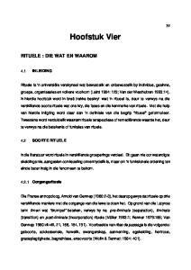 Hoofstuk Vier RITUELE : DIE WAT EN WAAROM 4.1 INLEIDING