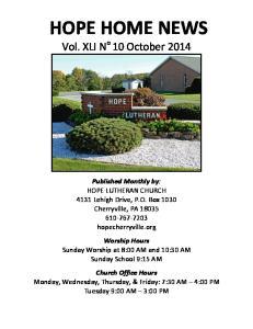 HOPE HOME NEWS Vol. XLI N o 10 October 2014